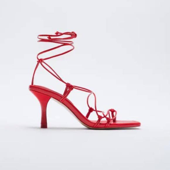 ZARA Tie Strap Red Heeled Sandals Size: 6/36